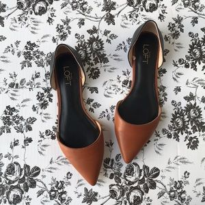 [Ann Taylor] Black/Brown Pointed Toe Flats